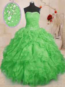 Sweet 16 Quinceanera Dress Military Ball and Sweet 16 and Quinceanera and For with Beading and Ruffles and Ruching Strapless Sleeveless Lace Up