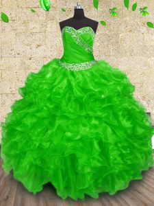 New Style Ball Gowns Beading and Appliques and Ruffles and Ruching Sweet 16 Quinceanera Dress Lace Up Organza Sleeveless Floor Length