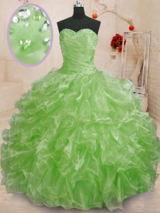 Sleeveless Organza Lace Up Quinceanera Dresses for Military Ball and Sweet 16 and Quinceanera