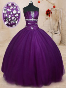 Beading Quinceanera Dresses Dark Purple Lace Up Sleeveless Floor Length