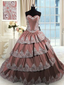 Pretty Ruffled Sweetheart Sleeveless Court Train Lace Up Vestidos de Quinceanera Brown Taffeta
