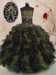 Hot Sale Floor Length Lace Up Vestidos de Quinceanera Multi-color for Military Ball and Sweet 16 with Beading and Ruffles
