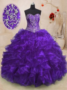 Admirable Sleeveless Organza With Train Sweep Train Lace Up 15 Quinceanera Dress in Purple with Beading and Ruffles