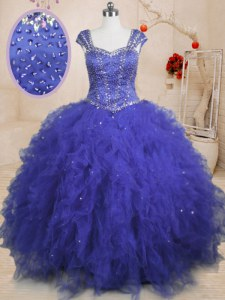 Cap Sleeves Tulle Floor Length Lace Up 15 Quinceanera Dress in Royal Blue with Beading and Ruffles and Sequins