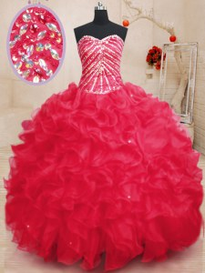 Exquisite Coral Red Sweetheart Lace Up Beading and Ruffles and Sequins Quince Ball Gowns Sleeveless