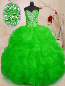 Luxury Organza Sleeveless Floor Length Ball Gown Prom Dress and Beading and Ruffles