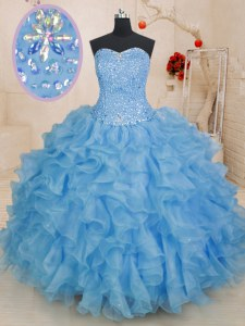 Blue Quince Ball Gowns Military Ball and Sweet 16 and Quinceanera and For with Beading and Ruffles Sweetheart Sleeveless Lace Up