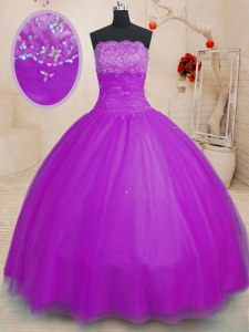 Stylish Purple Ball Gowns Strapless Sleeveless Tulle Floor Length Lace Up Beading Sweet 16 Dresses