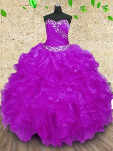 Discount Halter Top Sleeveless 15th Birthday Dress Floor Length Beading and Ruffles and Ruching Purple Organza