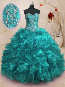 Romantic Beading and Ruffles Quinceanera Dresses Teal Lace Up Sleeveless With Train Sweep Train