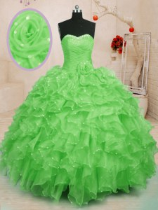 Fantastic Sweet 16 Dress Military Ball and Sweet 16 and Quinceanera and For with Beading and Ruffles and Hand Made Flower Sweetheart Sleeveless Lace Up