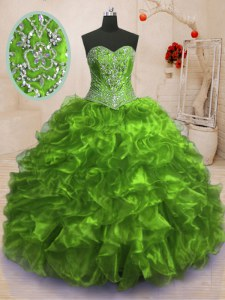 Organza Sleeveless With Train 15th Birthday Dress Sweep Train and Beading and Ruffles