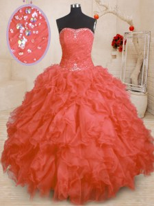 Adorable Orange Red Strapless Neckline Beading and Ruffles and Ruching 15th Birthday Dress Sleeveless Lace Up