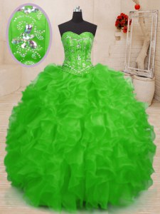 Ball Gowns Quinceanera Dress Sweetheart Organza Sleeveless Floor Length Lace Up