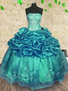 Vintage Turquoise Ball Gowns Beading and Ruffles Sweet 16 Dress Lace Up Organza and Taffeta Sleeveless Floor Length