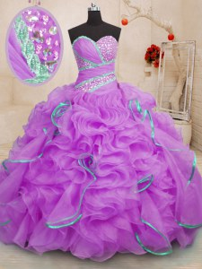 Pretty Sleeveless Organza With Brush Train Lace Up Quinceanera Dress in Lilac with Beading and Ruffles