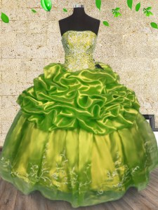 Olive Green Strapless Neckline Beading and Embroidery Quinceanera Gowns Sleeveless Lace Up