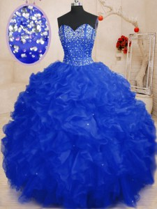 Delicate Floor Length Royal Blue Sweet 16 Quinceanera Dress Sweetheart Sleeveless Lace Up
