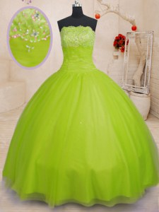 Yellow Green Sleeveless Beading Floor Length Quinceanera Gown
