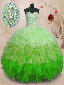 High Quality Sweetheart Sleeveless Organza 15th Birthday Dress Beading and Ruffles Lace Up