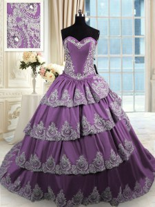 Decent Sleeveless Lace Up With Train Beading and Appliques and Ruffled Layers Quinceanera Dress
