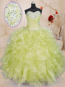High Quality Yellow Green Ball Gowns Sweetheart Sleeveless Organza Floor Length Lace Up Beading and Ruffles Ball Gown Prom Dress