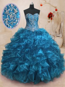 Romantic Sweep Train Ball Gowns Vestidos de Quinceanera Blue Sweetheart Organza Sleeveless With Train Lace Up