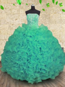 Luxurious Floor Length Turquoise Sweet 16 Quinceanera Dress Organza Sleeveless Beading and Ruffles