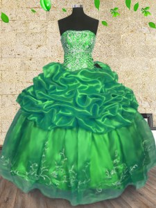 Custom Fit Sleeveless Organza Floor Length Lace Up 15th Birthday Dress in Green with Beading and Embroidery