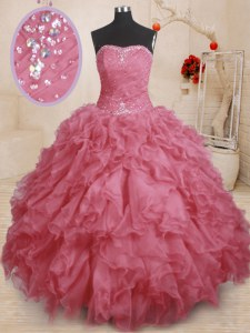 Ball Gowns 15 Quinceanera Dress Pink Strapless Organza Sleeveless Floor Length Lace Up