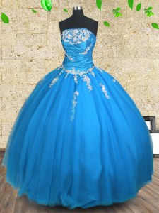 Blue Ball Gowns Tulle Strapless Sleeveless Appliques and Ruching Floor Length Lace Up Sweet 16 Dresses