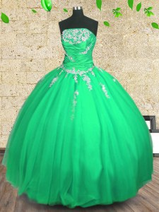 Noble Floor Length Ball Gowns Sleeveless Green Quinceanera Gown Lace Up