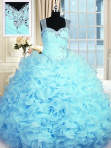 Sleeveless Organza Floor Length Zipper 15th Birthday Dress in Aqua Blue with Beading and Ruffles