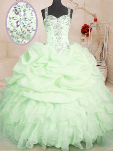 Floor Length Yellow Green Quinceanera Dresses Organza Sleeveless Beading and Ruffles and Pick Ups