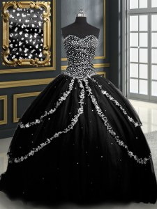 Noble Sleeveless Tulle With Brush Train Lace Up Quinceanera Dress in Black with Beading and Appliques