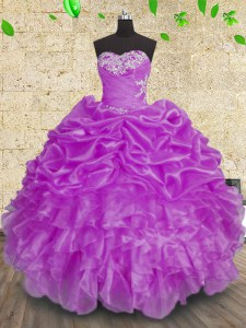 Fantastic Beading and Appliques and Ruffles and Ruching Quinceanera Gowns Purple Lace Up Sleeveless Floor Length