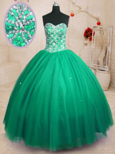 Super Tulle Sweetheart Sleeveless Lace Up Beading Quinceanera Gown in Dark Green