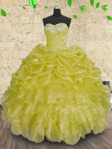 Sophisticated Green Sleeveless Organza Lace Up Ball Gown Prom Dress for Military Ball and Sweet 16 and Quinceanera