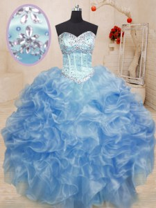 Luxury Sleeveless Organza Floor Length Lace Up Sweet 16 Quinceanera Dress in Light Blue with Beading and Ruffles