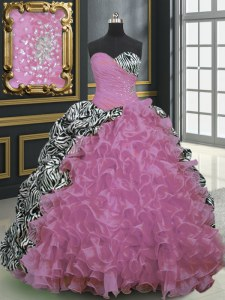 Most Popular Rose Pink Ball Gowns Beading and Ruffles and Pattern Quinceanera Dress Lace Up Organza and Printed Sleeveless With Train