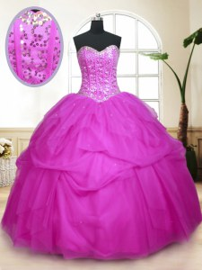 Sleeveless Floor Length Sequins and Pick Ups Lace Up 15th Birthday Dress with Fuchsia