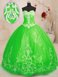 Sweetheart Sleeveless Tulle Sweet 16 Dress Beading and Appliques Lace Up