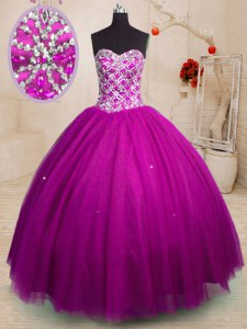 New Arrival Sweetheart Sleeveless Lace Up Sweet 16 Quinceanera Dress Fuchsia Tulle