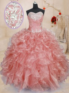 Attractive Sleeveless Organza Floor Length Lace Up Ball Gown Prom Dress in Watermelon Red with Beading and Ruffles