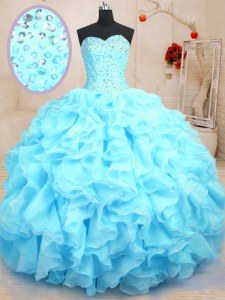 Baby Blue Sweetheart Neckline Beading and Ruffles Quinceanera Gowns Sleeveless Lace Up