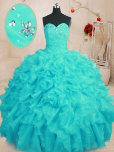 Colorful Aqua Blue Ball Gowns Organza Sweetheart Sleeveless Beading and Ruffles Floor Length Lace Up Ball Gown Prom Dress