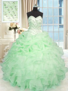 Eye-catching Floor Length Lace Up Ball Gown Prom Dress Apple Green for Military Ball and Sweet 16 and Quinceanera with Beading and Ruffles