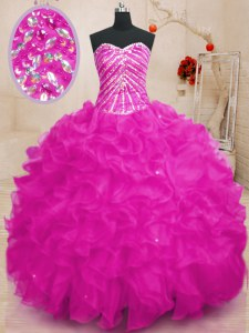 Nice Fuchsia Ball Gowns Sweetheart Sleeveless Organza Floor Length Lace Up Beading and Ruffles and Sequins 15th Birthday Dress