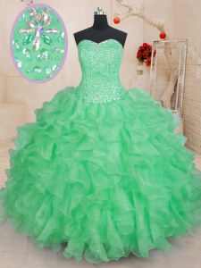 Green Sweetheart Neckline Beading and Ruffles 15 Quinceanera Dress Sleeveless Lace Up