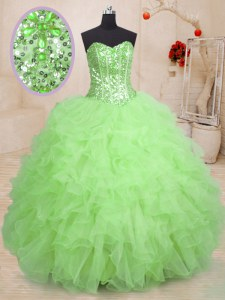 15th Birthday Dress Military Ball and Sweet 16 and Quinceanera and For with Beading and Ruffles Sweetheart Sleeveless Lace Up